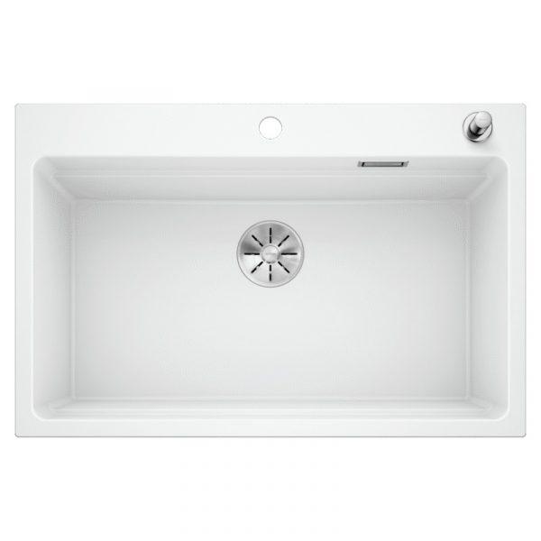 Blanco Etagon 8 525181 Silgranit Spoelbak Wit Inclusief Draaiknopbediening Inclusief Rails Opbouw