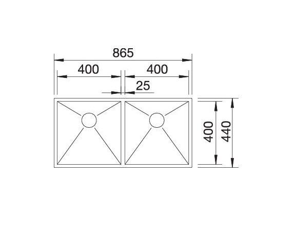 Blanco Zerox 400/400-If 521619 Dubbele Spoelbak Rvs Vlakbouw Of Opbouw