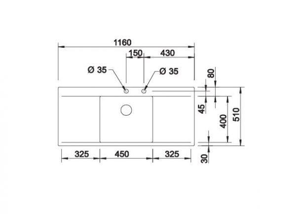 Blanco Flow 5 S-If 521637 Spoelbak Rvs Inclusief Pushcontrol Bediening Vlakbouw Of Opbouw