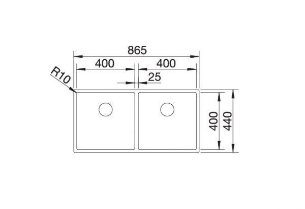Blanco Claron 400/400-If 521617 Dubbele Spoelbak Rvs Vlakbouw Of Opbouw