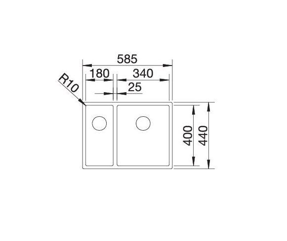 Blanco Claron 340/180-If 521607 Anderhalve Spoelbak Links Rvs Vlakbouw Of Opbouw