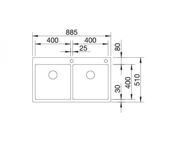 Blanco Claron 400/400-If/a 521654 Dubbele Spoelbak Rvs Inclusief Pushcontrol Bediening Vlakbouw Of Opbouw