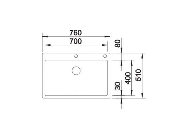 Blanco Claron 700-If/a 521634 Spoelbak Rvs Inclusief Pushcontrol Bediening Vlakbouw Of Opbouw