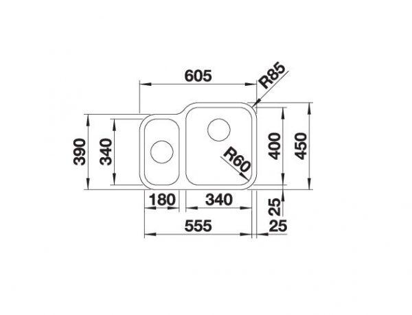 Blanco Supra 340/180-U 525214 Anderhalve Spoelbak Rechts Rvs Onderbouw