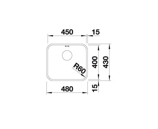 Blanco Supra 450-U 518203 Spoelbak Rvs Onderbouw