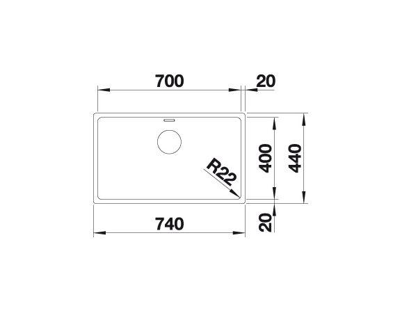 Blanco Andano 700-U 522971 Spoelbak Rvs Onderbouw