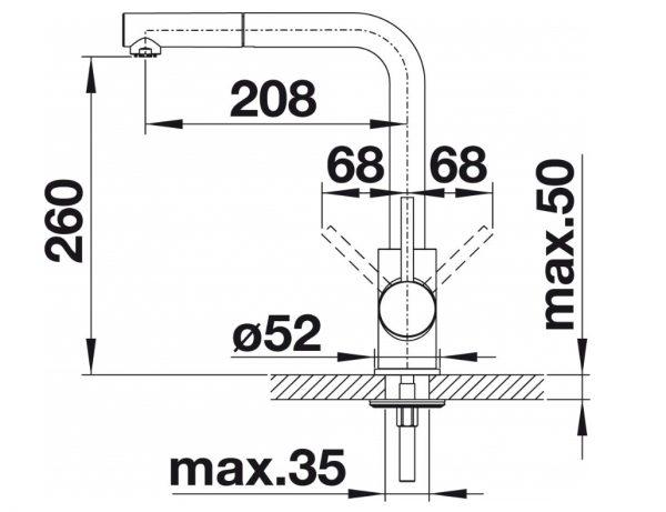 Blanco Mida-S 519810 Keukenkraan Met Uittrekbare Handdouche Chroom