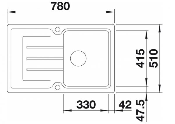 Blanco Classic Neo 45 S 524014 Café Spoelbak Silgranit Inclusief Draaiknopbediening Inclusief Snijplank Opbouw
