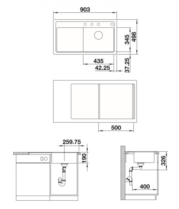 Blanco Zenar 5 S-F 523866 Antraciet Spoelbak Silgranit Inclusief Draaiknopbediening Inclusief Snijplank Vlakbouw Of Onderbouw
