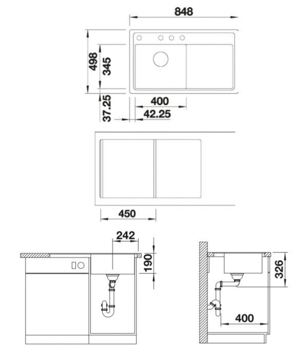 Blanco Zenar 45 S-F 523821 Aluminium Metallic Spoelbak Links Silgranit Inclusief Draaiknopbediening Inclusief Snijplank Vlakbouw Of Onderbouw
