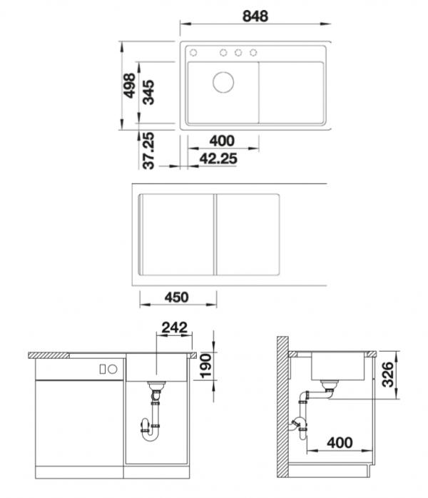 Blanco Zenar 45 S-F 523819 Antraciet Spoelbak Links Silgranit Inclusief Draaiknopbediening Inclusief Snijplank Vlakbouw Of Onderbouw