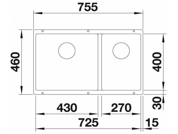 Blanco Subline 430/270-U 523154 Parelgrijs Dubbele Spoelbak Silgranit Onderbouw
