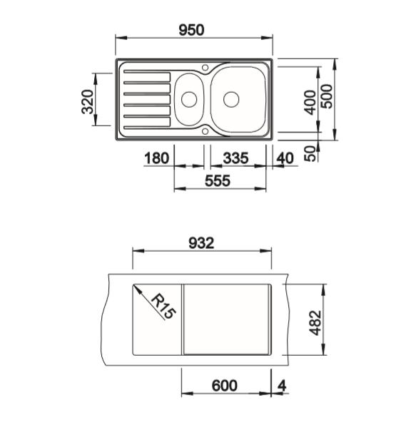 Blanco Lanis 6 S 516049 Rvs Spoelbak Inclusief Draaiknopbediening Omkeerbaar Opbouw