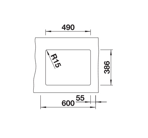 Blanco Subline 500-U 523734 Spoelbak Keramiek Magnolia Glans Onderbouw