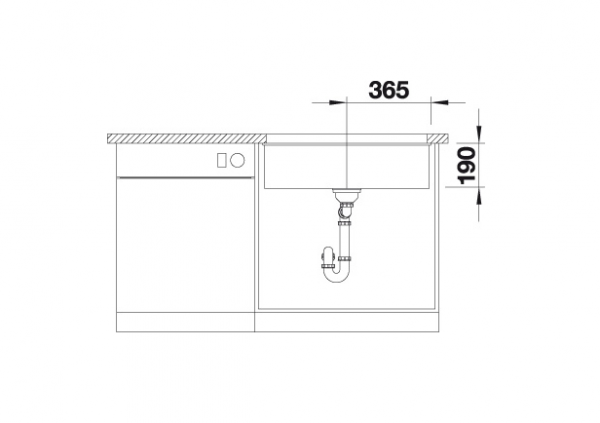 Blanco Subline 700-U 523447 Spoelbak Silgranit Jasmijn Onderbouw