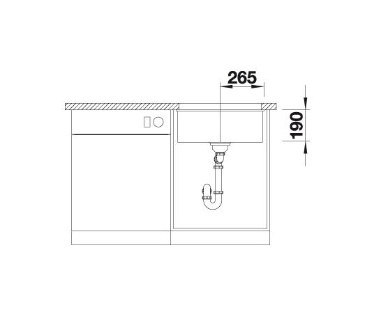 Blanco Subline 500-U 523435 Spoelbak Silgranit Parelgrijs Onderbouw