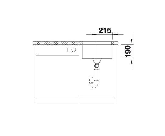 Blanco Subline 400-U 523422 Spoelbak Silgranit Antraciet Onderbouw