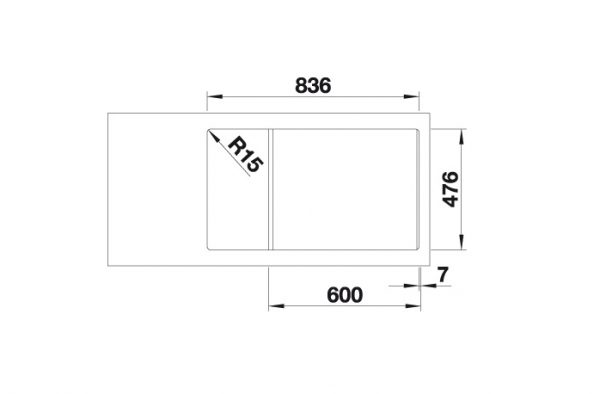 Blanco Andano Xl 6-S-If Compact 523002 Spoelbak Links Rvs Inclusief Draaiknopbediening Vlakbouw Of Opbouw