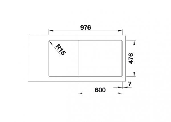 Blanco Andano Xl 6 S-If 523000 Spoelbak Links Rvs Inclusief Draaiknopbediening Vlakbouw Of Opbouw