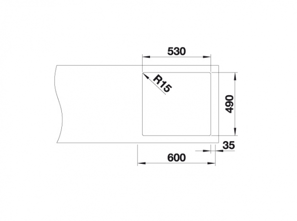 Blanco Andano 500-If/a 522994 Spoelbak Rvs Inclusief Draaiknopbediening Vlakbouw Of Opbouw