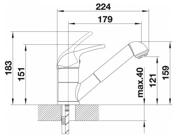 Blanco Vitis-S 515369 Eenhendel Keukenkraan Met Uittrekbare Handdouche Silgranit Look Aluminium Metallic