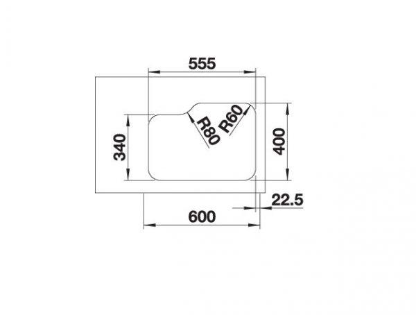 Blanco Supra 340/180-U 525216 Anderhalve Spoelbak Links Rvs Onderbouw