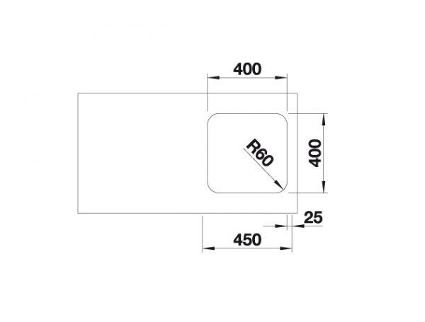 Blanco Supra 400-U 518201 Spoelbak Rvs Onderbouw
