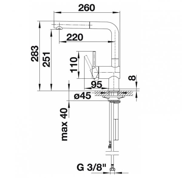 Blanco Linus-S 514016 Eenhendel Keukenkraan Met Uittrekbare Handdouche Hendel Links Chroom