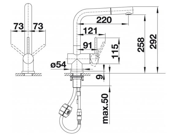Blanco Lomis-S 518716 Keukenkraan Met Uittrekbare Handdouche Volledig Rvs Geborsteld