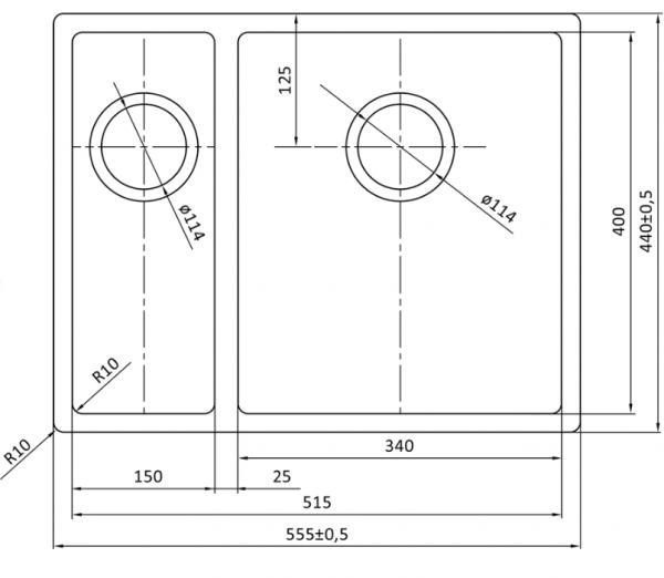 Lorreine 1534R Rvs Anderhalve Spoelbak Onderbouw-Vlakbouw-Opbouw