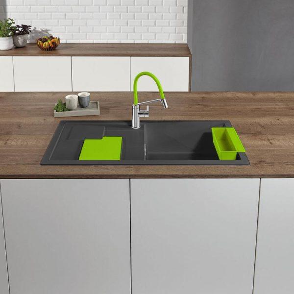 Blanco Sity Xl 6 S 525061 Spoelbak Rechts Silgranit Rotsgrijs Inclusief Accessoires Kiwi Groen Onderbouw Of Opbouw