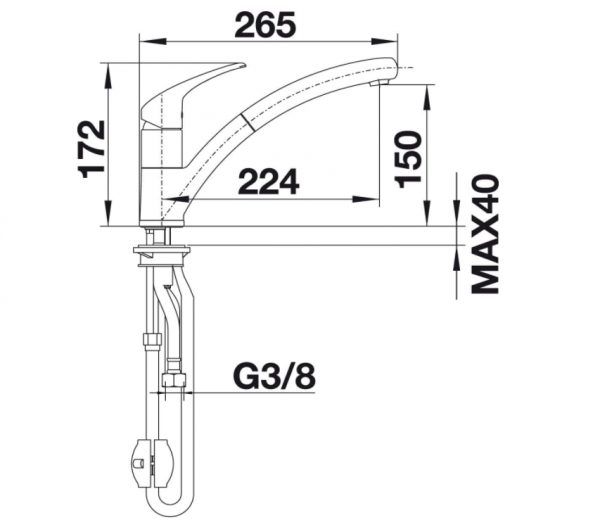 Blanco Bravon-S 520282 Eenhendel Keukenkraan Met Uittrekbare Handdouche Chroom