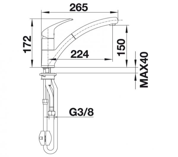 Blanco Bravon-S 520283 Eenhendel Keukenkraan Met Uittrekbare Handdouche Voor Lage Druk Chroom