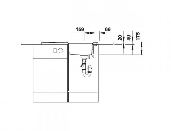 Blanco Axis Iii 45 S-If 522102 Spoelbak Rvs Inclusief Draaiknopbediening Inclusief Glazen Omkeerbaar Snijplank Vlakbouw Of Opbouw