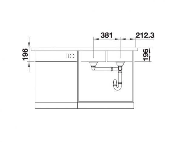 Blanco Divon Ii 8 S-If 521664 Dubbele Spoelbak Links Rvs Inclusief Draaiknopbediening Vlakbouw Of Opbouw