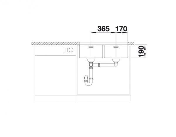 Blanco Andano 340/340-U 522983 Dubbele Spoelbak Rvs Onderbouw