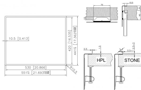 Caressi Special Capp3415Q10 Anderhalve Rvs Spoelbak Met Vierkante Korfplug Onderbouw-Vlakbouw-Opbouw