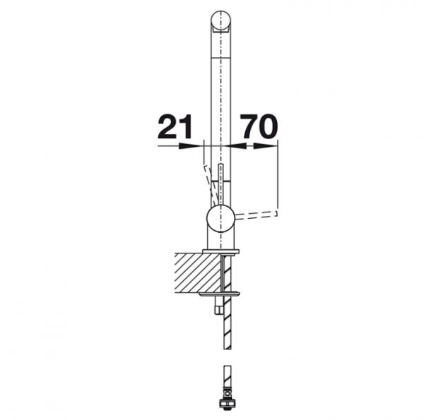 Blanco Laressa-F 521545 Eenhendel Keukenkraan Voor Raammontage Hendel Rechts Chroom