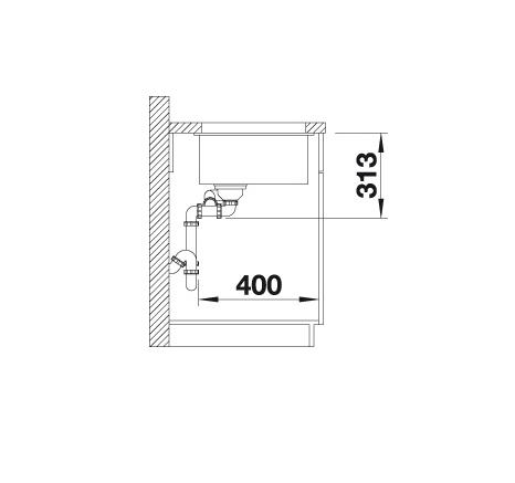 Blanco Subline 340/160-U 523563 Anderhalve Spoelbak Rechts Silgranit Jasmijn Onderbouw