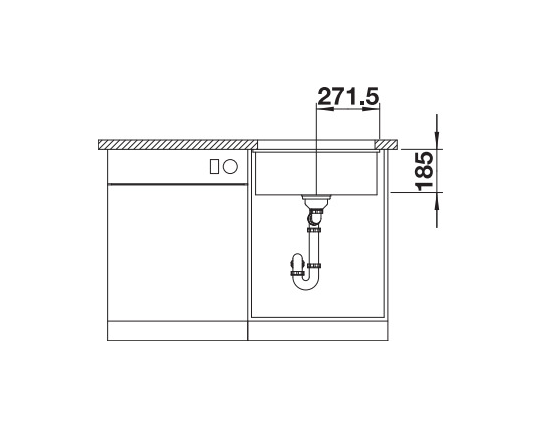 Blanco Subline 500-U 523739 Spoelbak Keramiek Basalt Onderbouw