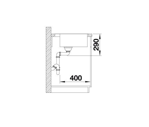 Blanco Andano 400-If/a 522993 Spoelbak Rvs Inclusief Draaiknopbediening Vlakbouw Of Opbouw