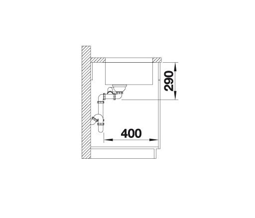 Blanco Andano 500/180-U 522991 Anderhalve Spoelbak Links Rvs Onderbouw