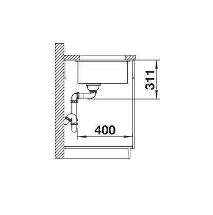 Blanco Subline 500-U 523733 Spoelbak Keramiek Wit Onderbouw