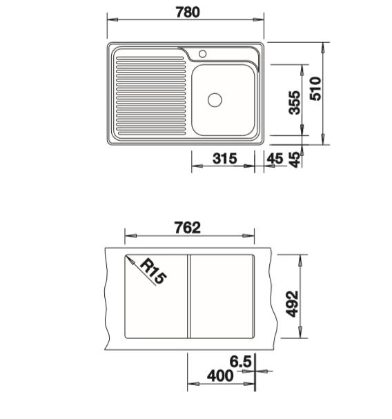 Blanco Classisc 40 S 511125 Rvs Spoelbak Links Opbouw