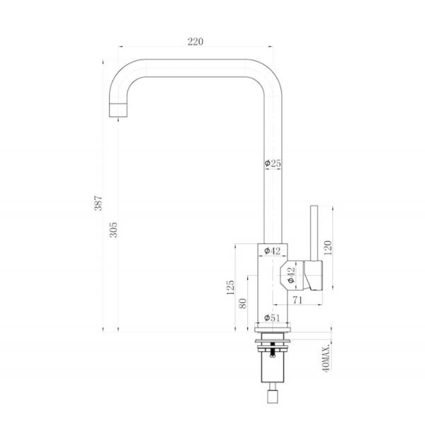Lorreine Medway Gun Metal Keukenkraan Gun Metal