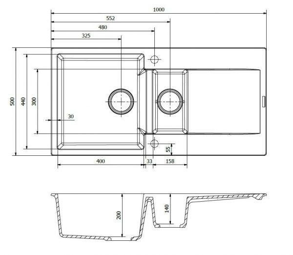 Reginox Amsterdam 15 Grey Silvery R30974 Spoelbak Graniet Opbouw