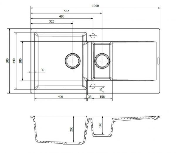 Reginox Amsterdam 15 Pure White R30950 Spoelbak Graniet Opbouw