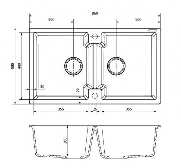Reginox Amsterdam 20 Caffe Silvery R31025 Dubbele Spoelbak Graniet Onderbouw Of Opbouw