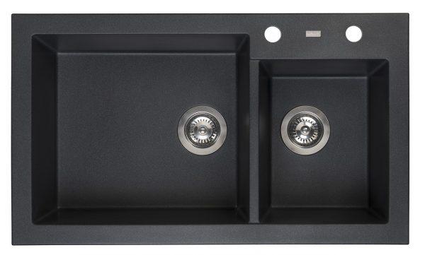 Reginox Amsterdam 25 Black Silvery R31087 Anderhalve Spoelbak Graniet Opbouw