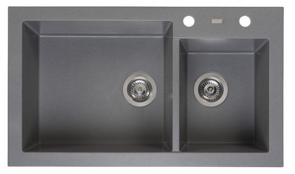 Reginox Amsterdam 25 Grey Silvery R31094 Anderhalve Spoelbak Graniet Opbouw